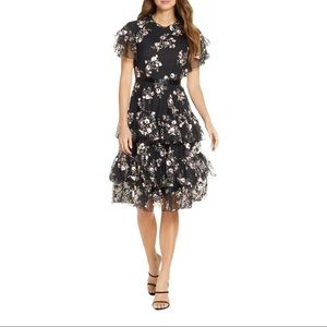 NEW Rachel Parcell Embroidered Tiered Mesh Dress